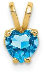 14K Yellow Gold 5mm Heart Blue Topaz Pendant