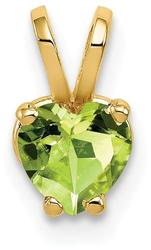 14K Yellow Gold 5mm Heart Peridot Pendant