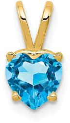 14K Yellow Gold 6mm Heart Blue Topaz Pendant