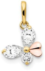 14k Yellow and Rose Gold CZ Childrens Butterfly Pendant