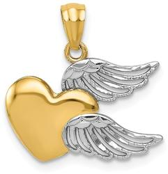 14K Yellow Gold and Rhodium Polished Heart w/ Wings Pendant