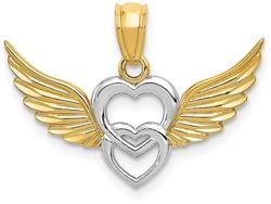 14K Yellow Gold and Rhodium Polished Hearts w/ Wings Pendant