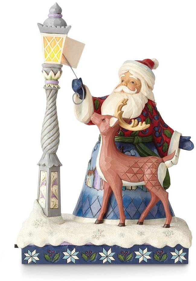 Heartwood Creek Santa Lighting Lamp with Animals Figurine