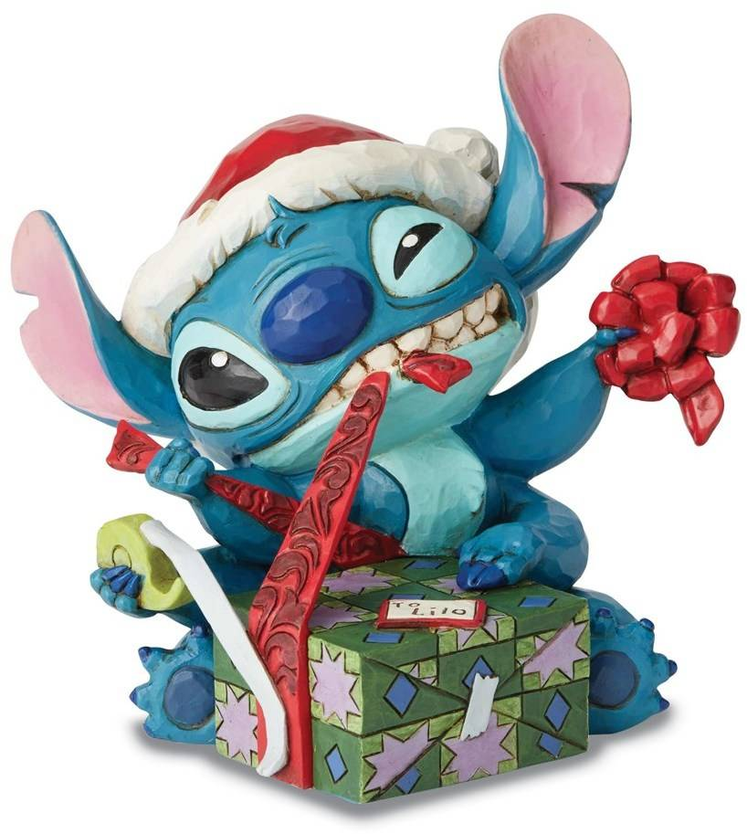DISNEY TRADITIONS Santa Stitch Wrapping Present Figurine