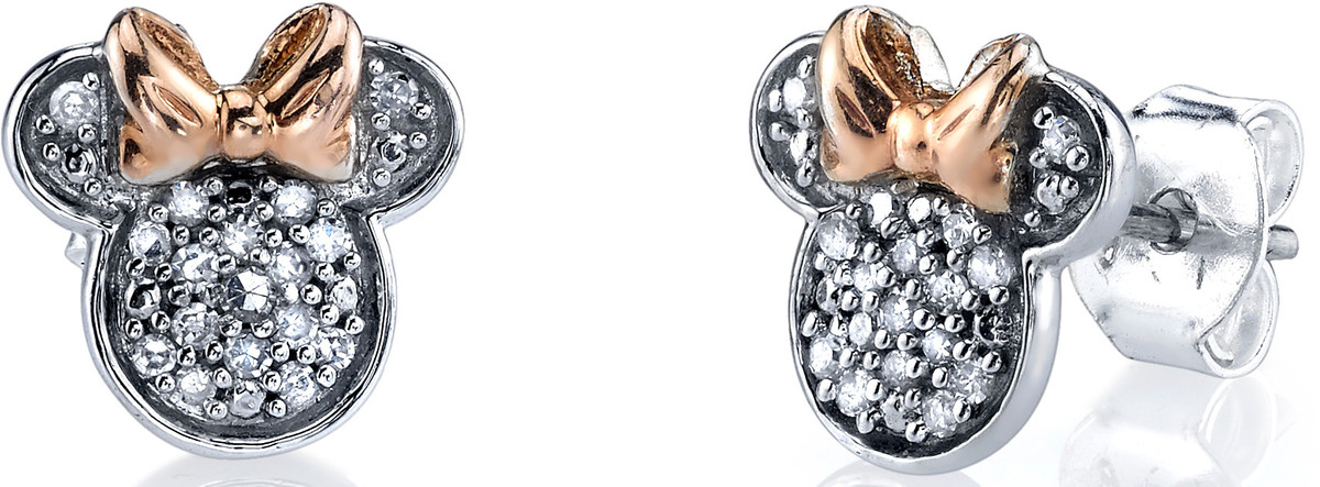 ad380c2a9 Disney Two Tone Sterling Silver 1/10 ctw Diamond Minnie Mouse Post Earrings