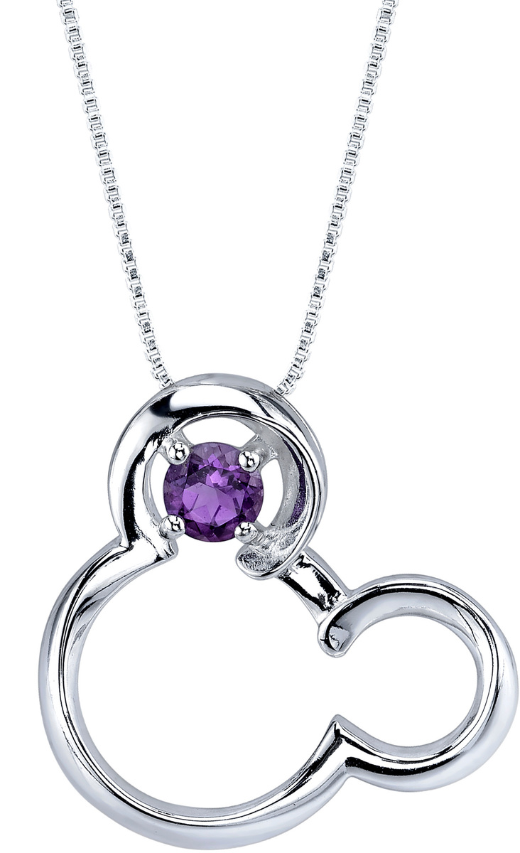 "18"" Disney Silver Amethyst February Birthstone Mickey Mouse Necklace"