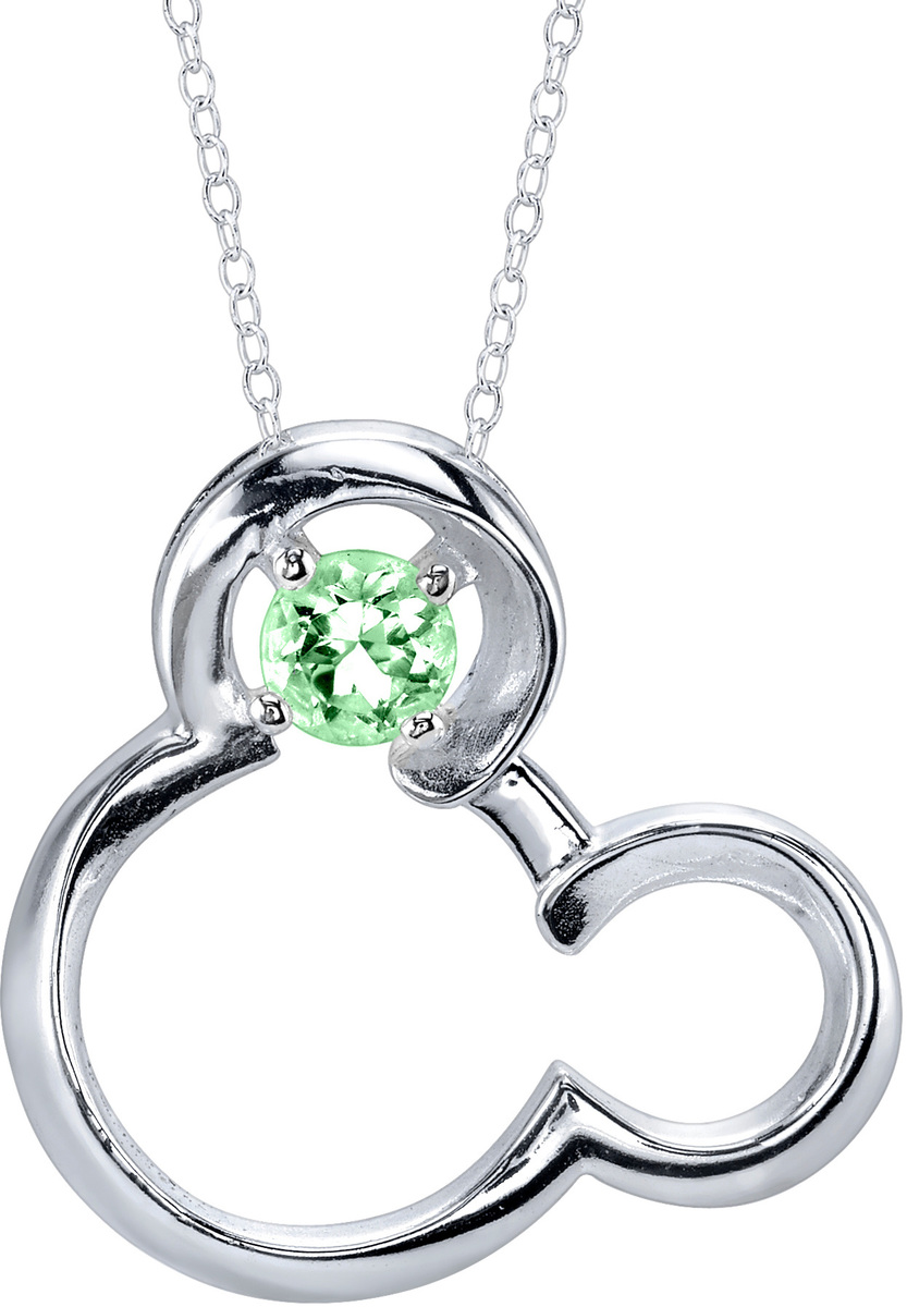 "18"" Disney 925 Silver Peridot August Birthstone Mickey Mouse Necklace"