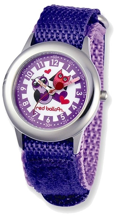Red Balloon Love Owl Purple Velcro Time Teacher Watch