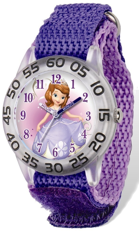 Disney Princess Sofia Acrylic Case Purple Velcro Time Teacher Watch