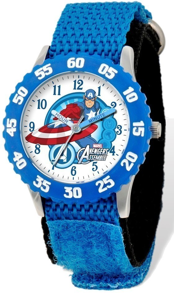 Marvel Avengers Captain America Blue Velcro Time Teacher Watch