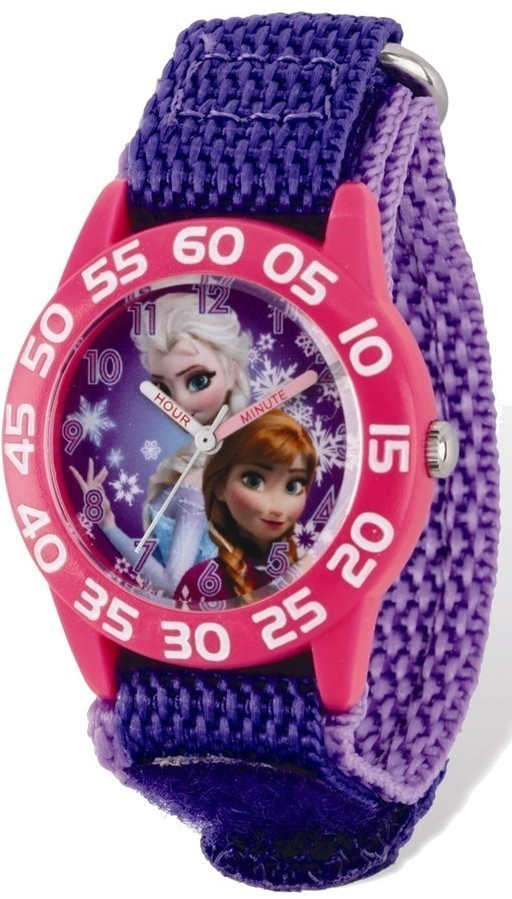 Disney Frozen Elsa/Anna Acrylic Purple Nylon Time Teacher Watch