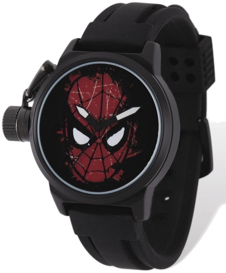Marvel Adult Size Spiderman Face Black-plated Left Hand Watch