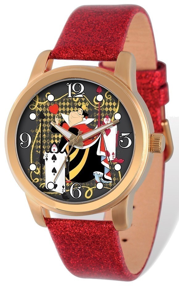 Disney Adult Size Gold-tone Alice in Wonderland Red Band Watch