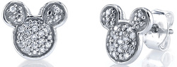 Disney Sterling Silver 1/10 ctw Diamond Mickey Mouse Post Earrings