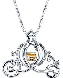 18 Disney 10K Yellow Gold & Sterling Silver Cinderella Carriage Necklace