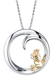 18 Disney 10K Yellow Gold & Sterling Silver Little Mermaid Pendant Necklace