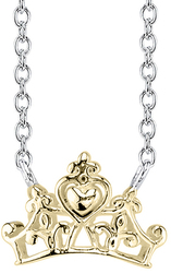 18 Disney 10K Yellow Gold & Sterling Silver Cinderella Crown Chain Necklace