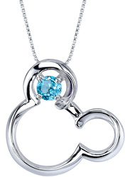 18 Disney Silver Blue Topaz December Birthstone Mickey Mouse Necklace