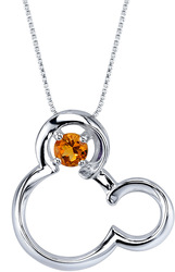 18 Disney Silver Citrine November Birthstone Mickey Mouse Necklace