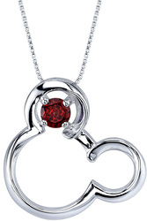 18 Disney 925 Silver Garnet January Birthstone Mickey Mouse Necklace