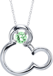 18 Disney 925 Silver Peridot August Birthstone Mickey Mouse Necklace