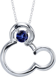 18 Disney Silver Synthetic Sapphire September Birthstone Mickey Mouse Necklace