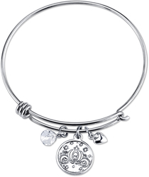 8 Disney Sterling Believe Cinderella Catch Bangle Bracelet
