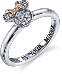 Disney Two Tone Sterling Silver 1/20 ctw Diamond Ill be Your Minnie Mouse Ring