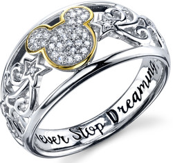 Disney Two Tone Sterling Silver 1/10 ctw Diamond Never Stop Dreaming Mickey Mouse Ring