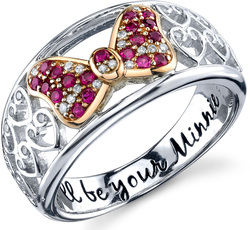 Disney Two Tone Pink Gold Sterling Silver 1/10 ctw Diamond Created Ruby Ill be Your Minnie Mouse Ring
