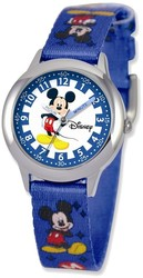 Disney Kids Mickey Mouse Printed Fabric Band Time Teacher Watch (XWA3581)