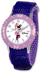 Disney Kids Minnie Mouse Purple Velcro Band Time Teacher Watch