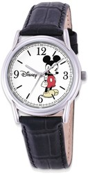 Disney Adult Size Black Leather Strap Mickey Mouse Watch (XWA4384)