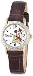 Disney Adult Size Brown Leather Strap Mickey Mouse Watch (XWA4388)