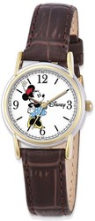 Disney Adult Size Brown Leather Strap Minnie Mouse Watch