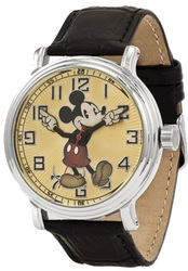 Disney Adult Size Black Leather w/Moving Arms Mickey Mouse Watch