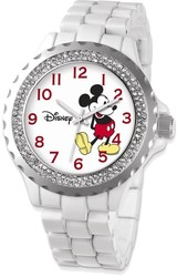 Disney Adult Size White Band w/ Crystal Bezel Mickey Mouse Watch