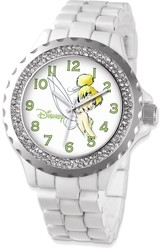 Disney Adult Size White Band w/ Crystal Bezel Tinker Bell Watch
