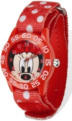 Disney Minnie Acrylic Case Red Velcro Time Teacher Watch