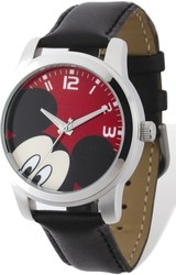 Disney Adult Size Mickey Mouse Black Leather Watch