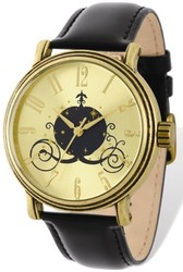 Ladies Disney Antiqued Gold-tone Coach Black Leather Watch