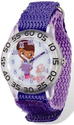 Disney Doc McStuffins Acrylic Purple Nylon Time Teacher Watch