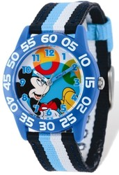 Disney Kids Mickey Mouse Striped Acrylic Time Teacher Watch