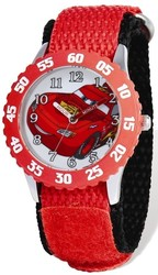 Disney Cars Lightning McQueen Red Nylon Time Teacher Watch