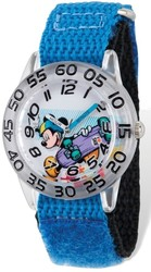 Disney Kids Mickey Skateboard Blue Velcro Band Time Teacher Watch