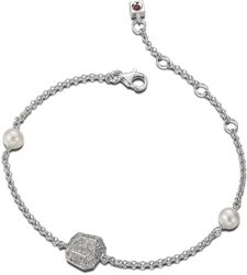 ELLE Jewelry - FACETS Sterling Silver 6.5 in. + 1.5 in. Pearl and Micro Pave CZ Bracelet