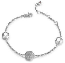 ELLE Jewelry - FACETS Sterling Silver 6.5 in. + 1.5 in. Micro Pave CZ Bracelet (B0196)