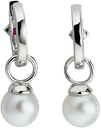 ELLE Jewelry - PRETTY IN Cultured PEARLS Sterling Silver Cultured Pearl Huggie Earrings