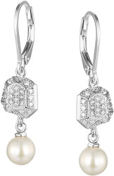ELLE Jewelry - FACETS Sterling Silver Cultured Pearl And Micro Pave CZ Lever Back Earrings (E0485)