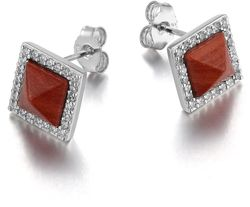 ELLE Jewelry - NEFER Sterling Silver Red Jasper And Micro Pave Post Earrings (E0533) - LIMITED STOCK